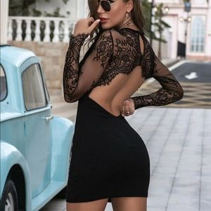 Sexy lace backless bodycon long sleeve dress